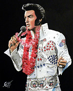 Rock  Painting Originals - Elvis by Tom Carlton
