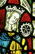 Catherine Window Prints - Ely Cathedral, Stained Glass, St Catherine, Wheel Print by Neil Holmes
