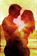 Lovers Digital Art Posters - Embrace Poster by Andrea Barbieri