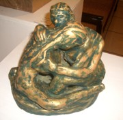 Expressionist Sculpture Originals - Embrace by Lorna Diwata Fernandez