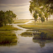 Egrets Paintings - Embrace The Solitude by Glenda Cason