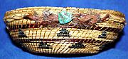 Baskets Mixed Media - Embroidered Bowl With Braided Sides by Georgiana Barton
