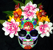 Los Angeles Sculpture Metal Prints - Embroidery Sugar Skull Mask Metal Print by Mitza Hurst