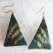 Hand Painted Jewelry - Emerald and Metal by Christiane Kingsley
