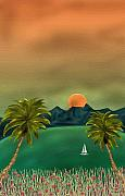 Tropical Sunset Painting Framed Prints - Emerald Bay Framed Print by Gordon Beck