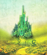 Fairytale Painting Posters - Emerald City Poster by Mo T