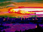 Absract Posters - Emerald City Sunset Poster by Tim Allen