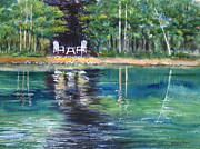 Lakeshore Paintings - Emerald Reflections I by Kristine Plum