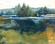Water Reliefs Originals - Emerald Reflections by Ruth Stromswold