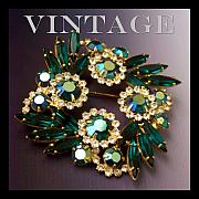 Vintage Jewelry Posters - Emerald Rhinestone Brooch Poster by Jai Johnson