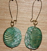 Gold Earrings Sculptures - Emerald Seashell Stamped Earrings 2 by Megan Brandl