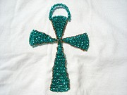 Christian Glass Art Posters - Emerald Wall Hanging Glass Beaded Suncatcher Copper Cross Poster by Serendipity Pastiche