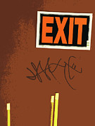 Humorous Greeting Card Framed Prints - Emergency Exit Framed Print by Joe JAKE Pratt