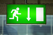 Airport Architecture Prints - Emergency Exit Sign Print by Don Mason