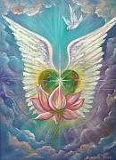 Angel Greeting Cards - Emerging Love Opening Heart by Sundara Fawn