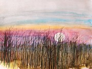 Autumn Landscape Drawings - Emerging Moon by John  Williams
