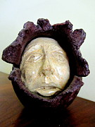 Purple Sculptures - Emerging white pale face born out of a brown purple thing eyes nose mouth by Rachel Hershkovitz