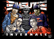 Hip Hop Drawings Posters - Emeute Infernale - Black Version Poster by Tuan HollaBack