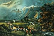 Pioneers Paintings - Emigrants Crossing the Plains by Currier and Ives