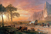 Bierstadt Prints - Emigrants Crossing The Plains Print by Photo Researchers