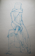 Seated Nude Drawing Prints - Emily in blue Print by Gill Kaye