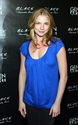 Blue Shirt Prints - Emily Vancamp At Arrivals For Black Print by Everett