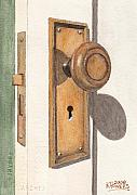 Old Door Painting Framed Prints - Emilys Door Knob Framed Print by Ken Powers