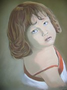 Toddler Portrait Paintings - Emilys Little Girl by Lynette Brown
