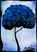 Oddball Art Painting Prints - Emilys Trees Blue Print by Oddball Art Co by Lizzy Love