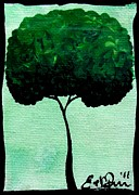 Oddball Art Painting Prints - Emilys Trees Green Print by Oddball Art Co by Lizzy Love