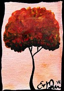 Oddball Art Painting Prints - Emilys Trees Orange Print by Oddball Art Co by Lizzy Love