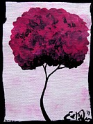 Elizabeth Matlack Paintings - Emilys Trees Pink by Lizzy Love of Oddball Art Co