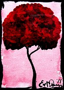 Elizabeth Matlack Paintings - Emilys Trees Red by Lizzy Love of Oddball Art Co