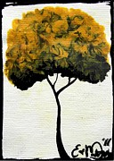 Oddball Art Painting Prints - Emilys Trees Yellow Print by Oddball Art Co by Lizzy Love