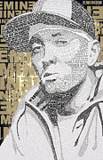 Rap Acrylic Prints - Eminem Text Picture Acrylic Print by Aaron Parrill