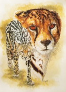 Cheetah Mixed Media Framed Prints - Eminence Framed Print by Barbara Keith