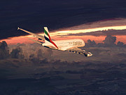 A380 Posters - Emirates Airbus A380 above Dubai Poster by Nop Briex