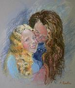 Daughter Pastels Posters - Emma and Kaya Poster by Ann Radley