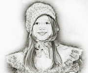 Little Girl Digital Art Prints - Emma Dressup Portrait Sketch Print by Randy Steele