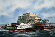 Artist James Williamson Fine Art Prints Prints - EMMA FOSS Barge Assist Print by James Williamson
