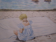 Emma On The Beach Print by Heather Perez