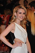 Peach Dress Framed Prints - Emma Roberts At Arrivals For Alexander Framed Print by Everett