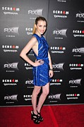 Ruffled Dress Framed Prints - Emma Roberts  Wearing A Burberry Framed Print by Everett