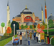 Istanbul Painting Posters - Emma Samantha and Denise Istanbul Turkey 2010 Poster by Bill White