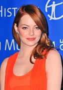 2010s Hairstyles Posters - Emma Stone At Arrivals For American Poster by Everett