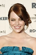 Hoop Earrings Prints - Emma Stone At Arrivals For The Rocker Print by Everett