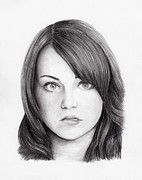 Stone Drawings Prints - Emma Stone Print by Rosalinda Markle