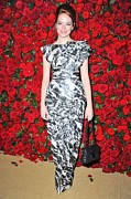 Abstract Handbag Prints - Emma Stone Wearing A Chanel Dress Print by Everett