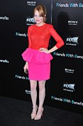 Emma Framed Prints - Emma Stone Wearing A Giambattista Valli Framed Print by Everett