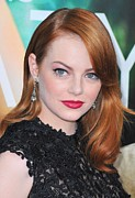 Diamond Earrings Framed Prints - Emma Stone Wearing Fred Leighton Framed Print by Everett